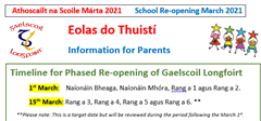 Information on School Re-opening